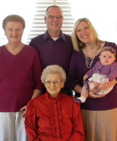 """<div class=""""source""""></div><div class=""""image-desc"""">Great-great grandmother is Elizabeth Smith, front; back row, from left, great-grandmother, Mildred Bennett (nee Smith), Grandpa Steven Bennett, and mother Danielle Bennett Hilsinger and her daughter Mackenzie Rose Hilsinger.</div><div class=""""buy-pic""""></div>"""