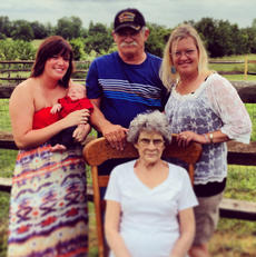 "<div class=""source""></div><div class=""image-desc"">Pictured is the five generations of Rosemary Duckworth, seated, great great-grandmother; standing, great-grandfather Gary Evans Duckworth, grandmother Christina Riggs, mother Megan (Ecklar) Fields, and Casen Evan Fields.</div><div class=""buy-pic""></div>"
