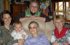 "<div class=""source""></div><div class=""image-desc"">Pictured are: back row, great-grandmother Beverly Dunn; front from left, Shelby Cooper-mother, Koda Marie Hupp, Effie Hensley-great-great-grandmother, and Rachel Cooper, grandmother.</div><div class=""buy-pic""></div>"