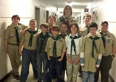 """<div class=""""source""""></div><div class=""""image-desc"""">On Friday, March 1 Cub Scout Pack 60 celebrated their Webelo two group crossing over to be Boy Scouts. Members of Troop 76 assisted with the Crossover Ceremony. Scouts were: front row, from left, Andrew Franklin, Benjamin Merriman, Austin May, Evan Copes, Lee Perkins (Troop 76), Brendan Turnberg, Dylan Harris, John Denniston (Troop 76); back row, Henry DeRolf, Tim Lail, Brian Merriman, all Troop 76.</div><div class=""""buy-pic""""></div>"""