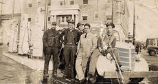 "<div class=""source"">Submitted by Shirley Willoughby</div><div class=""image-desc"">These men are standing at the Ashland Gas Station across from the Harrison Hotel at the corner of Main and Pleasant streets. Jim Flora, second from left, drove for the Cynthiana Cab Company. Unable to identify the rest of the gentlemen in the photo or the year.</div><div class=""buy-pic""></div>"