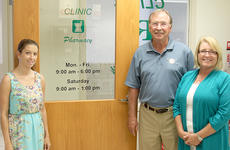 """<div class=""""source""""></div><div class=""""image-desc"""">Larry and Pat Wiley, on the right, and Amber Hutchison, on the left, welcome customers to the Clinic Pharmacy in the medical building on the Harrison Memorial Hospital campus. The Clinic is celebrating its 15th anniversary.</div><div class=""""buy-pic""""><a href=""""/photo_select/24727"""">Buy this photo</a></div>"""