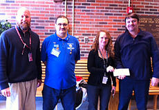 """<div class=""""source""""></div><div class=""""image-desc"""">St. Edwards Catholic Church Knights of Columbus Council 13196 recently held a Tootsie Roll Drive at Walmart. The drive's proceeds are earmarked for use locally for the mentally disabled. This year $501.86 was raised and donated to the FMD class at Harrison County Middle School to be used for needed special supplies, equipment and possible field trip. Thanks to the generous people of Harrison county for their support. Mike McIntire, Harrison County Middle School principal, Kenneth Houston, who worked every shift of this project, Becky Mitchell, FMD instructor, Rick Boland, St. Edward Knights of Columbus Grand Knight.</div><div class=""""buy-pic""""></div>"""