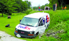"""<div class=""""source""""></div><div class=""""image-desc"""">The FedEx truck, swerving to avoid contact with the out-of-control Harley Davidson, went off the road came to rest over an embankment.</div><div class=""""buy-pic""""><a href=""""/photo_select/28796"""">Buy this photo</a></div>"""