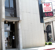 """<div class=""""source""""></div><div class=""""image-desc"""">Farmers Deposit Bank will have its two locations in Cynthiana as well as one in Carlisle and one in Paris. James A. Brown, who owns all four locations will retain ownership.</div><div class=""""buy-pic""""><a href=""""http://web2.lcni5.com/cgi-bin/c2newbuyphoto.cgi?pub=081&orig=fnb.jpg"""" target=""""_new"""">Buy this photo</a></div>"""