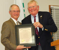 """<div class=""""source""""></div><div class=""""image-desc"""">The Cynthiana Rotary club celebrated its 90th anniversary on Saturday, Nov. 23 at a dinner meeting held at the Harrison County Extension office. District 6740 District Governor Jack McAllister was the speaker. McAllister is a member of the Lexington club which is the Club that sponsored our club over 90 years ago. The club was chartered in 1923 and was the 1,555th club formed in the world. Rep. Tom McKee, right, presents the Kentucky General Assembly Proclamation to Doug Price.</div><div class=""""buy-pic""""></div>"""