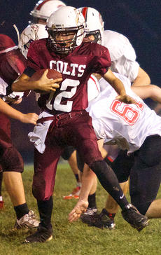 """<div class=""""source"""">Donald Richie</div><div class=""""image-desc"""">Ben VanHook keeps the ball for the eighth grade Colts last Thursday as the team welcomed Conkwright Middle School to Ingles Stadium.</div><div class=""""buy-pic""""></div>"""