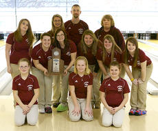 """<div class=""""source"""">Donald Richie</div><div class=""""image-desc"""">The Fillies bowling team earned runner up and a slot in the state tournament last Saturday during the region tournament at Eastland Lanes in Lexington. With the trophy are, front row, from left, Brooklyn Fryman, Shelbi Morris, Josie Mae Vaughn; second row, Kelsi Caldwell, Becca Switzer, Mikayla Fryman, Andra Gaunce, Shaylee Carter; back row, Jessica Wilson and coaches Dennis Hyatt and Bonnie Parks.</div><div class=""""buy-pic""""></div>"""