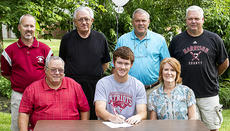 """<div class=""""source"""">Donald Richie</div><div class=""""image-desc"""">Harrison County High School graduate John King, front row, center, signed to play baseball for Cumberland College last week. With him were, front row, from left, his parents Terry and Natalie King; back row, Thorobreds baseball assistant coach Eddie Feeback, Thorobreds baseball assistant coach Jim Whitaker, Thorobreds baseball head coach Mac Whitaker and Thorobreds baseball assistant coach Jimbo Stroub.</div><div class=""""buy-pic""""></div>"""