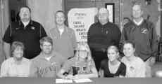 "<div class=""source"">Donald Richie</div><div class=""image-desc"">Senior Caylin Mattox, front row, center, signed to run track for Union College during a ceremony held at Harrison County High School last week. With her at the signing was, front row, from left, her stepmother Tammy Scott-Mattox, her father Wayne Mattox, her sister Chelsee Mattox, her mother Dulcie Holbert; back row, Union assistant track coach Chad Gwinn, Union head track coach Joel Childs, HCHS girls' head track coach Danny Simpson and HCHS assistant track coach Harold Barnett. Not pictured is stepfather Shane Holbert.</div><div class=""buy-pic""></div>"