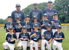"""<div class=""""source""""></div><div class=""""image-desc"""">Rays Coach Pitch Tournament Champions and league runners-up members are: back row, from left, Coach Terry Smiley, Coach Vince Harris, Coach Chris Denniston; middle row, Landon Whitson, Mason Smiley, Taz Bedford, Elijah Harris, Cason Wright, Cliffy Todd McIlvain; front row, Griffin Maners, Caylee Wilson, Eli Phelps, Logan Denniston, Jack Judy. Absent from photo was Connor Lewis.</div><div class=""""buy-pic""""></div>"""