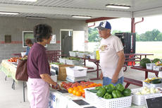 "<div class=""source"">Kayla Pickrell</div><div class=""image-desc"">Al Solomon talks to someone at the Harrison County Farmers' Market on Friday. Solomon sold watermelon, cucumbers, tomatoes, bell peppers, potatoes, beans, onions and sweet potatoes.</div><div class=""buy-pic""><a href=""http://web2.lcni5.com/cgi-bin/c2newbuyphoto.cgi?pub=081&orig=solomontwo7.24.14.jpg"" target=""_new"">Buy this photo</a></div>"