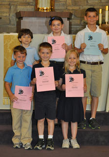 Science Awards. Front row, from left, Calvin Heimlich, Jacob Hargett, Rachel Rion; back row, Nicholas Barry, Lucy Barry and Kyle Barnes.