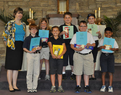 4th Grade Academic Awards. Front row, from left, Kendra Cooper-Teacher, Noah Daily-Most Enthusiastic Award, Maria Furnish-Classroom Citizenship Award, Riley Switzer-Sportsmanship Award, Mynor Spence-Penmanship Award; back row, Payton Walker-Good Work Ethic Award, Eli Hargett-Significant Academic Improvement and Politeness Awards, Lucy Barry-Most Helpful Award.