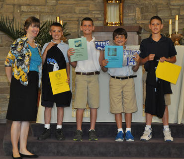 5th Grade Academic Awards. Front row, from left, Kendra Cooper-Teacher, Nicholas LaFleur-Most Improvement Award, Kyle Barnes-Responsible/Dependable and Significant Academic Improvement Awards, John Taylor Schreiber-Mass Participation Award, Clay Furnish-Classroom Citizenship Award.