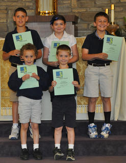 Math Awards. Front row, from left, Jacob LaFleur, Jacob Hargett; back row, Clay Furnish, Lucy Barry, Ian Boland.
