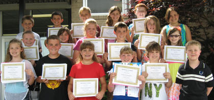 Overall Academics. Students receiving Overall Academics awards were: front row, from left, Brooklynn Phelps, Jakob Furnish, Devin Covert, Kortney Harney, Dawson Childress, Will Johnson; middle row, Caden Maners, Isabel Sims, Olivia Hatterick, Mason Hedges, Jessalyn Kuntz, Amber Kerns; back row, Wilson Duckworth, Tyler Hudgins, Shannon Knight, Abigail Sparkman, Ben Lemmings, Caylin Bryant.