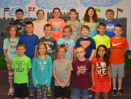 Third Grade A/B Honor Roll. Bottom row, from left, Branson Fain, Sarah Stump, Preston Cole, Jacob H. Scott, Savannah Silcox; second row, Shelbey Huber, John Biggs, LeLand Rowell, Rylee Hudgins, Neil Olmsted, Blake Green, Owen Northcutt; top row, Grayson Nickels, Morgan Bihl, Ava Denniston, Barrett Philpot, Marie Thaxton, and Dray Roberts. Absent was Alana Romero-Lozano.