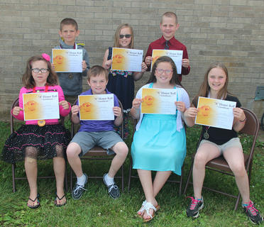 3rd Grade All A Honor Roll. Receiving awards were: front row, from left, Debra Webb, John Sowder, Madison Delong, Aubrie Winters; second row, Tyler Tichenor, Hadley Hein, Camden Bowlin.