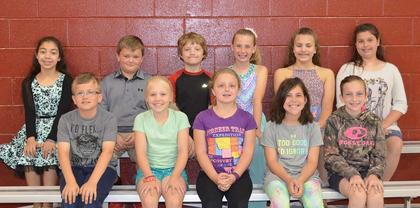 4th and 5th Grade Achievement Award. Receiving awards were: front row, from left, Logan Hein, Isabella Persinger, Ashlee Foxworth, Camille Marshall, Karlie Gatrost; back row, Shantin Aguilar, Peyton Wagoner, Alex Love, Alyssa Hall, Ellie Carr, Harlie Abner.