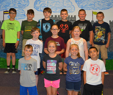 Fourth Grade A/B Honor Roll. Bottom row, from left, Daniel Bowlin, Lindsey Bennett, Madalyn Carson, Steven Gomez; second row, Samuel Mullen, Riley Grob, Emily Gootee; top row, James Chipman, Evan Winkle, Daniel Simpson, Tanner Tumey, Dru Whitaker, Bradley Jones. Absent was Kayley Gammon.