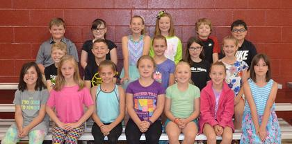 4th Grade Honor Roll. Receiving awards were: front row, from left, Camille Marshall, Izabella Logan, Morgan Morris, Ashlee Foxworth*, Isabella Persinger*, Meredith Vaughn, Nevaiah Hively; middle row, Peyton Wilson, Rece Grubb, Kira Spaulding, Kylee Brinker, Audrey Dawson; back row, Peyton Wagoner, Makenzi Best, Alyssa Hall*, Hayden Lunsford, Alex Love, Garrett Price. (*following the name denotes all A's)