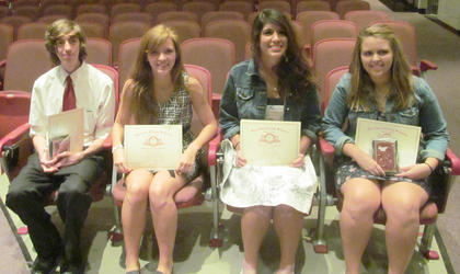 4 Year Perfect Attendance. From left, Justin Newcomb, Lauren Jackson, Megan Lopez, Katelin Martin.