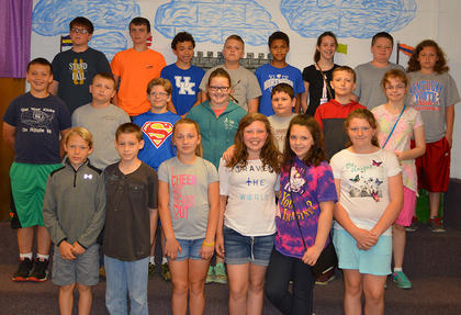 Fifth Grade A/B Honor Roll. Bottom row, from left, Sam Heitfeld, A. C. Green, Alyssa Tucker, Jae Kathryn Grose, Lydia Phillips, Marissa Taylor; second row, Jacob Aubrey, Owen Shields, Cole Fizette, Whitney Dunaway, Cody Fitzgerald, Ben Lawrence, Haleigh Sharp; top row, Charlie Furnish, Blake Northcutt, Korbin Gilkey, Wyatt Gaunce, Lequlia Bandy, Lily Moses, Riley Bihl, Iziah Cole.