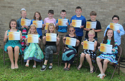 5th Grade All A Honor Roll. Students receiving awards were: front row, from left, Mary Canupp, Sophia Bowlin, Alyssa Webber, McKenzie Florence, Kaitlin Lewis, Hannah Mitts; second row, Makenna Dennie, Faye Bryan, Wil Shirley, Braden Fields, Jonathan Graves, Mason Smiley, Jon Nichols.