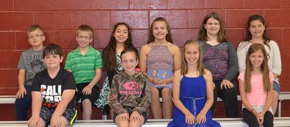 5th Grade Honor Roll. Receiving awards were: front row, from left, Conner Tipton, Karlie Gatrost, Anneka Blankenship, Amber Rice; back row, Logan Hein, Tanner Stroub, Shantin Aguilar*, Ellie Carr, Shannon Bostic, Halie Abner. (*following the name denotes all A's)
