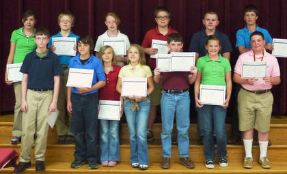 HCMS 6th grade students recognized with the Principal Award were: top row, from left, Madison Johnson, Robert Prather, Stacey Stidham, Dalton Cole, Brandon Blanton, Jacob Ray; front row, David Duncan, Trenton Henderson, Danielle Kinney, Sydney Soard, Buddy Burns, Emma Wallace, Anthony Vascotto.