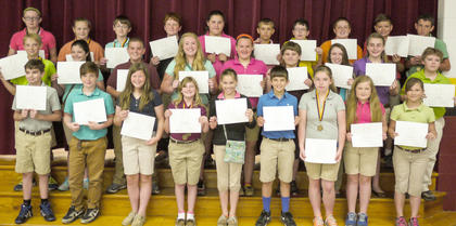 Honor Roll students recognized were: top row, from left, Gracie Perraut, Cathy Griffieth, Nathan Graves, Jake Fowler, Autumn Burgan, Cameron Kinsey, Vance Kendall, Will Lucky, Austin Miley, Bennett Sosbe; middle row, Casey Sledd, Lauren Nichols, Jakob Furnish, Macie Clough, Kelsey Brinker, Eli Hargett, Addison Moore, Katie Stonich, Devin Stamper; bottom row, Daniel Wright, Jordan Pope, Mary Partin, Kortney Harney, Miranda Clem, Tyler Hudgins, Isabella Sturgill, Payton Walker, Katie Wood.