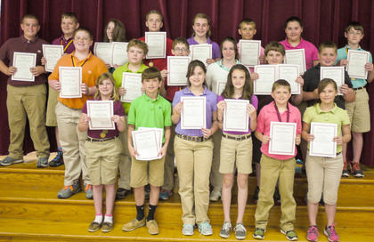 Gold team students recognized with Certificates were: back row, from left, Jakob Furnish, Justin Adams, Addison Moore, Aaron Prater, Katie Stonich, Cameron Kinsey, Autumn Burgan, Nathan Graves; middle row, Will Lucky, Devin Stamper, Colton Kendall, Miracle Switzer, Eli Hargett, Clayton Arnold; bottom row, Kortney Harney, Dakota Hill, Lauren Crowe-Duggins, Courtney Russell, John Sadler, Katie Wood.