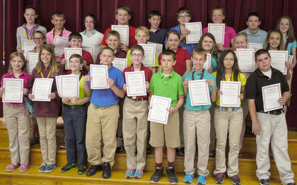 The Maroon team Certificate winners were: top row, from left, Savannah Slemp, Cameron Kinsey, Miracle Switzer, Will Darnell, Dylan Harris, Jeremiah Cornelius, Sydni Gifford, Dalton Quesenberry, Anna Midden; middle row, Abby Stroub, Dalton Pergram, Wilson Duckworth, Casey Sledd, Destiny Earleywine, Bailey Lawrence, Bailey Holbert, Kaitlin Ecklar; bottom row, Shandi Strausbaugh, Miranda Barnes, David Bowen, Shannon Yazell, Colton Kendall, Luke Smith, Shawn Dahmer, Jaydy Torres, Jarrod McCall.