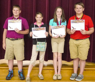 Receiving the Citizenship award were: from left, Justin Adams, Miranda Clem, Anna Midden, Will Darnell.