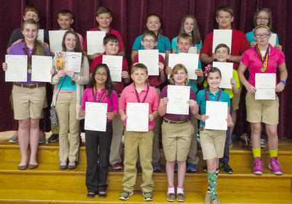 Sixth grade Maroon and Gold team students receiving medals were: top row, from left, Jake Fowler, Cameron Kinsey, Austin Miley, Kayla Whalen, Anna Midden, Will Darnell, Chantelle Napier; middle row, Katie Stonich, Addison Moore, Dalton Pergram, Colton Kendall, Shawn Dahmer, David Bowen, Gracie Perraut; bottom row, Sarah Allison, John Sadler, Kortney Harney, Lillie Cook.