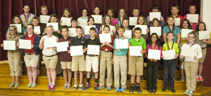 Maroon team students recognized on the honor roll were: top row, from left, Savannah Slemp, Brady White, Erin Thomas, Miracle Switzer, Abigail Sparkman, Allyn Stephens, Anna Midden, Hunter Gaunce, Cameron Covington, Will Darnell, Sydni Gifford; middle row, Bailey Lawrence, Wilson Duckworth, Hailey Scott, Dalton Pergram, Lauren Crowe-Duggins, Marleigh Posey, Alexis Jones, Katelin Ecklar, Miranda Barnes, Kayla Whalen, Savanna Austin, Abigail Allison; bottom row, Abigail Stroub, Emma McGee, Bailey Holbert, Maria Furnish, Christopher Shrout, Blake Robinson, Colton Kendall, Shawn Dahmer, Luke Smith, Sarah Allison, David Bowen, Jaqueline Smith.
