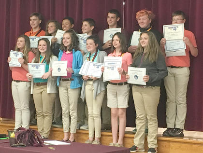 Academic Team. Front row, from left, Laci Davis, Addison Hoskins, Hannah Judy, Brooke Kinney, Grace Wilson, McKenzie Williams; top row, Walker Wilson, Gracie Davis, Braylon Hinton, Lucas Herrington, Bryce King, Jaden Miller, Cameron Perry.
