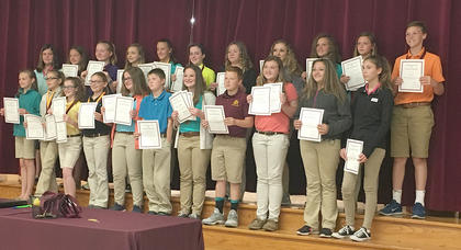 Medal Winners/Highest GPA in subject. Students recognized were: front row, from left, Olivia Barry, Bethany Franklin, Kaylee Pickett, Felicia Whalen, Shelby Foxworth, Eli Hensley, Addison Hoskins, Jordan Banks, Laci Davis, McKenzie Williams, Mason Moore; top row, Avery Barnes, Daelyn Morrison, Ella Cash, Laurynn Miracle, Caroline VanHook, Alaina Coppage, Alicia Powell, Lexi Switzer, Gracie Davis, Lily Winkle, JD Kendall.