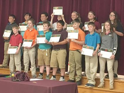 Principals Award. Receiving awards were: front row, from left, Michael Strong, Garylee Gooden, Andrew Gaunce, Caden Fain, Timmy Dotson, Eli Hensley, Lauren McNees; top row, JD Tucker, Martina Roque, Noah Wyrick, Devon Richardson, Natalie Wiglesworth, Alexis Bullock, Samantha Adams.