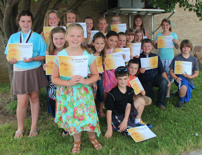 Fourth and fifth grade students receiving all A's were: front row, from left, Scott Hein, Colin Perkins, Marshall Canupp, Gavin Miller; second row, Ellie Henderson, Madison Ward, Harleigh Mullins, Mckayla Vance, Sidney Sowder, Jensen Sullivan, Makenzie Florence, Molly Perkins; back row, Trinity Taylor, Katlyn Fitzpatrick, Hannah Mullins, Alura Schaum, Jaelyn Terhune, Sarah Halderman, Kaylee Brooke Northcutt.