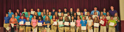 7th Grade Gold Honor Roll. Front row, from left, Taylor Reffett, Elliot Rognstad, Kyler Williams, Emily Tackett, Jade Wheeler, Autumn Westfall, Katie Stein, Sierra Smith, Mackenzie Shepard, Macy Robles, Rachel Eckert, Weston Lea, Olivia Eckert, Abby Cooper, Ben Bowen, Kevin Barnett; middle row, Tanner Wells, Holly Winkle, Brianna Smith, Savannah Sawyers, Shelby Roberts, Callie Powell, James Pike, Jamie Miller, Carly Johnson, Knijia Hunter, Andrea Hernandez, Cody Edwards, Raelyn Brakke, Danielle Dunaway, Madison Wells, Lindsey Burberry, Reagan Atchison; back row, from left, Morgan Oswley, Raychel Morrison, Will Marsh, Aaron Howard, Jake Jones, Hunter Griffith, Reagan Gorman, Nick Florence, Pate Faulkner, Russ Faulconer, Courtney Gaunce, Autumn Cole, Kacia Clements, Brady Posey, Anna Arthur, Austin Hill