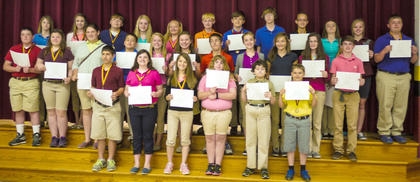 Students receiving Honor Roll awards were: front row, from left, Isaiah Stiltner, Halee Tapp, Grace Simpson, Michelle Halderman, Mitchell Florence, Nathan Maynard; second row, Anthony Vascotto, Katie Tumey, Jessica Tucker, TJ Rowland, Madison Shanklin, Gracie Roberts, Lee Perkins, Kenzie Jones, Starr Hindbaugh, Emma Gooden, Daniel Bartels; back row, Autumn Wells, Christina Wilson, Colton Sosbe, Christen Smith, Brianna Searp, Devin Miracle, Branson Gillispie, Dylan Etienne, Melony Dunaway, Lauren Bentley, Evey Barker, Jarrett Adams.