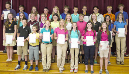 Students receiving Certificates were: front row, from left, Thomas Morris, Nathan Maynard, Makinlee Kellione, Michael Ann Stephens, Sierra Eckler, Halee Tapp, Mackenzie Mosig; second row, Gracie Roberts, Lauren Bentley, Evey Barker, Kenzie Jones, Hannah Perkins, Sophia Hatterick, Andrew Day, Madison Kellione, Jordan Jenkins, Autumn Wells; back row, Isaac Sims, Branson Gillispie, Christina Wilson, Anthony Vascotto, Christen Smith, Chris ONeil, Cody Howard, Melony Dunaway, Jessica Tucker, Devin Miracle, Dylan Etienne.