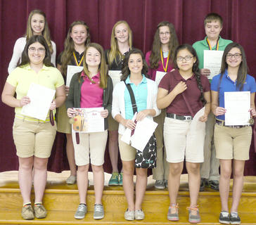Seventh grade students recognized as Medal winners were: front row, from left, Hannah Perkins, Mackenzie Mosig, Lauren Hitch, Jessica Torres, Jordan Jenkins; back row, Christina Wilson, Gracie Roberts, Madison Kellione, Emma Gooden, James Griffieth.
