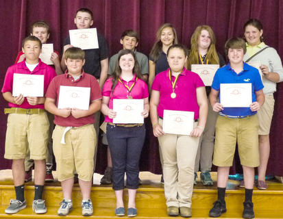 Students honored for Perfect Attendance were: front row, from left, Quenton Turley, Eli Mattox, Halee Tapp, Chelsea Kiskaden, Robie Mullins; back row, Jacob King, Spencer Gray, Trenton Henderson, Starr Hindbaugh, Monica Spicer, Jessica Tucker.