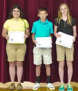 Receiving the Soil Conservation award were: from left, Hannah Perkins, Duncan Wiley, Madison Kellione.