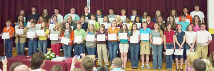 Harrison County Middle School eighth grade students receiving A/B Honor Roll all 3 years were: front row, from left, Austin Snapp, Katie Stein, Quentin Sowder, Natalie Kinney, Amy Johnson, Brooklyn Jackson, Tristan Ellington, Carolina Elliot, Isaiah Brueggen, Emily Tackett, MacKenzie Shepard, Macy Robles, Kyler Williams, Kennah Noble, Lindsey Burberry, Rachel Eckert, Olivia Eckert, Kevin Barnett; second row, Chandlyr Puckett, Sara Ann Ledford, Alexis Lanza, Stefanie Harney, Havanna Gollihue, Matthew Fugate, Ben Bradford, McKayla Cloyd, Carly Johnson, Knijia Hunter, Andrea Hernandez, Tanner Wells, Emily Hendrix, Reagan Gorman, Cody Edwards, Anna Arthur; third row, Alex Tumey, Will Marsh, Larah Kate Kendall, Jake Jones, Austin Hill, Emma Darnell, Kacia Clements, Joe Banfield, Luke Slucher, Elliot Rognstad, Madison Wells, Shelby Roberts, Callie Powell, Bret Persinger, Reese Asher.