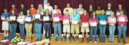 Eighth grade HCMS students receiving Citizenship awards for their hard work, dedication, cooperation, and leadership shown in the classroom were: front row, from left, Pate Faulkner, Caitlin Warden, Savannah Hedges, Jade Wheeler, Kyle Lainhart, Lexi Fryman, Luke Slucher, Drew Furnish, Dalton Moore, Tanner Wells, Jessi Petty, Anjelica Hernandez, Hannah Rice, Kendra Courtney; second row, Codie Sharp, Alan Cabrera, Brett Persinger, Taylor Reffett, Reese Asher, Jake Jones, Michael Stanley, Austin Hill, Larah Kate Kendall, Alex Hassall, Emma Darnell, Summer Peel.