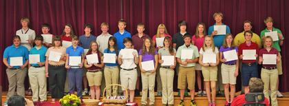 8th Gold 3 Year Honor Roll. Front row, from left, Hannah Winkle, Jacob Smith, Ashley Simpson, Amberlyn Schjoll, Rachel Newman, Claire Morgan-Sanders, Cassidy Menard, Meghan Clem, Jessica Mattox, Dalton Covert, Tatum Bell, Hallie Adams, Chris Mashburn, Victoria Switzer; second row, Zach Pulliam, Jacob Sanders, Shelby May, Conner Hutchison, Josh Graves, Josh Getting, Addison Doyle, Jami Davis, Zane Couch, Brittany Bennett, Timmy Lail, Abigail Sparks, Jared Thomas.
